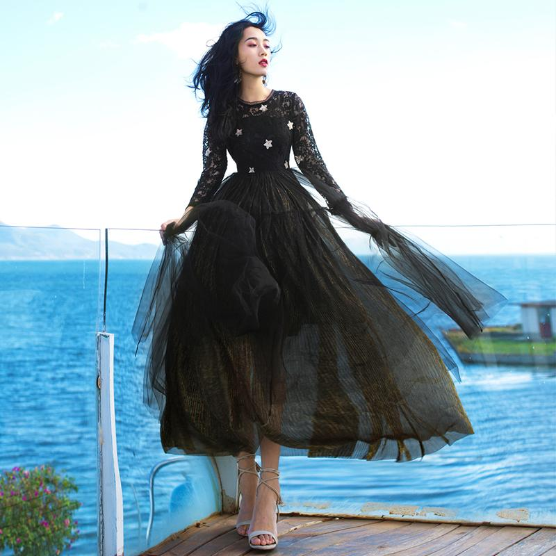 Alta qualità paillettes vestito serie sera party # ricami neri sottile maxi maniche lunghe ospiti prom abiti eleganti signore di modo 6090