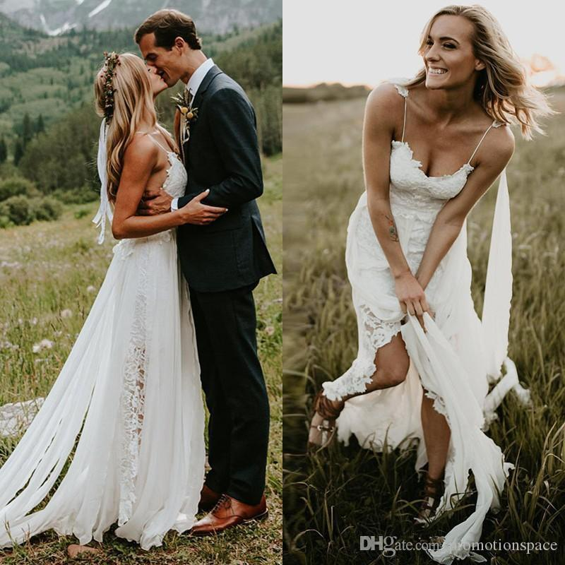 Новое свадебное платье Спагетти ремешок на линию кружева сексуальный V шеи спинки пляжный шифон свадебное платье невесты платье с оберткой Vestidos de Novia