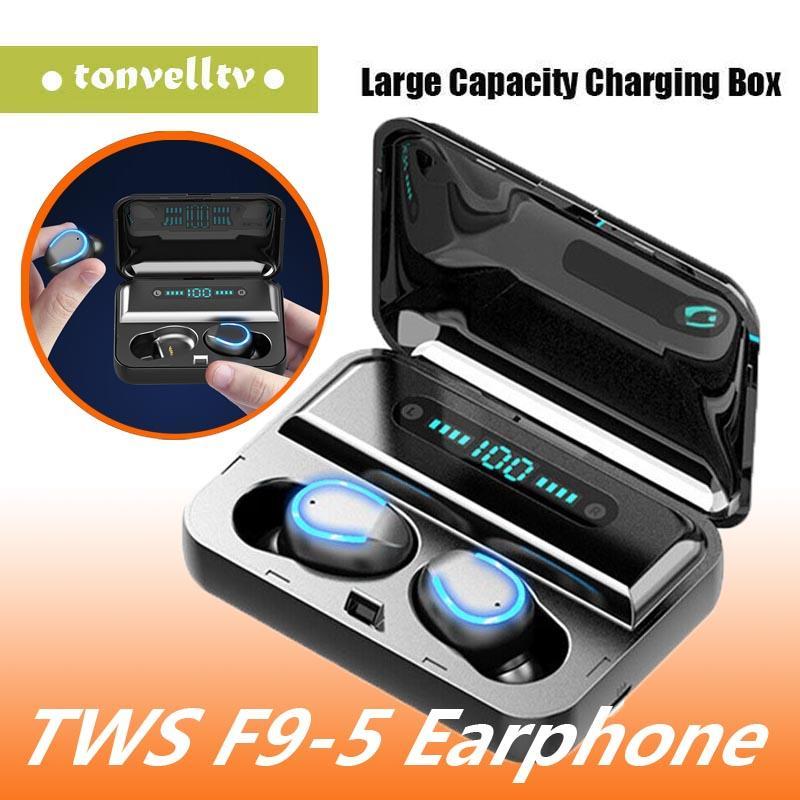 F9-5 TWS sans fil écouteurs numérique LED Affichage Bluetooth V5.0 Casque Bluetooth Oreillettes Avec 2000mAh Power Bank Headset navire DHL