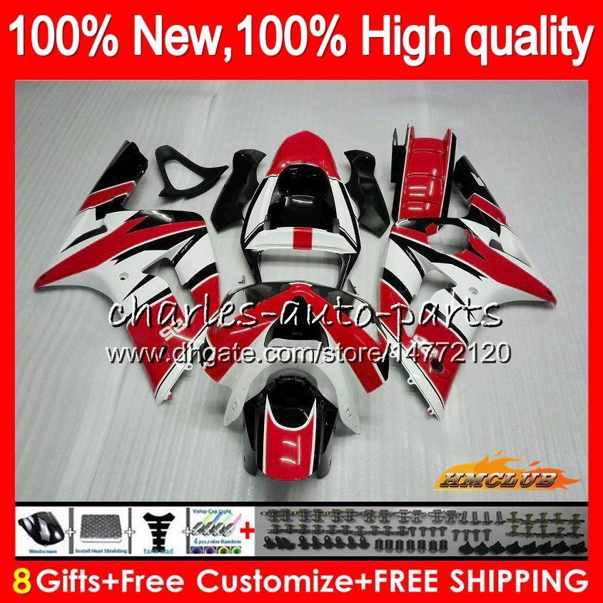 Körper für KAWASAKI 600cc ZX600 Rot Weiß Top-ZX636 ZX6R 03 04 36HC.52 ZX 636 R 6 ZX 6R 03 04 ZX636 ZX600 ZX6R 2003 2004 Voll Verkleidungs-Kit