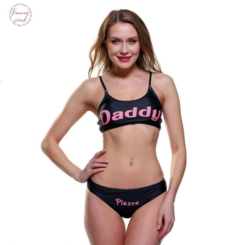 2 Piece Mayo Seksi Bayan Mayo İşte baba Seti Harf Baskılı Bikini Seti Kolsuz Yaz Harajuku Feminino Bikini gel
