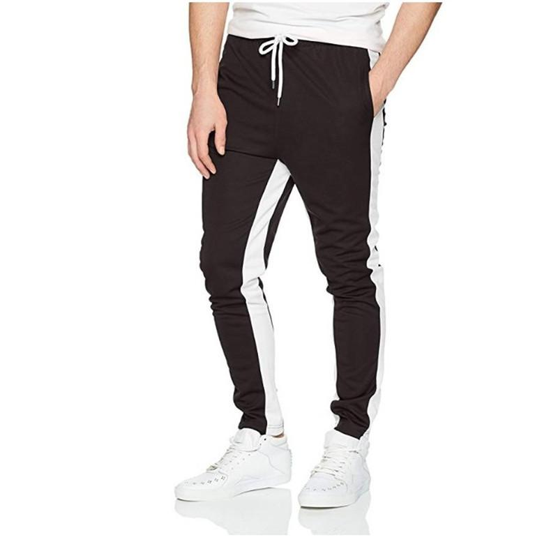 E-Baihui Pantalon Trendy Slim Fit New Mode pour hommes Hit couleur Brochage Tether ceinture Pantalons Casual Pieds rouges d'homme Pantalons
