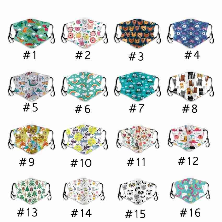 25 стилей детские маски для лица мультфильм моющиеся многоразовые хлопчатобумажные маски для рта пылезащитные детские защитные маски ZZA2401