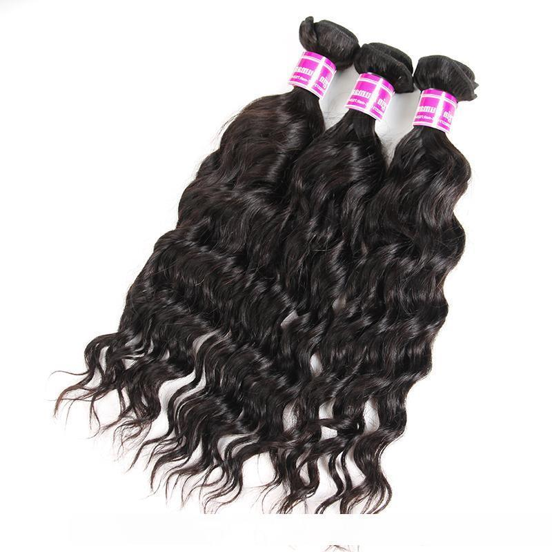 B Superior Supplier Brazilian Peruvian Virgin Hair Water Wave Human Hair Extensions Wefts 3 Bundles With Lace Top Closure Frontal Weave