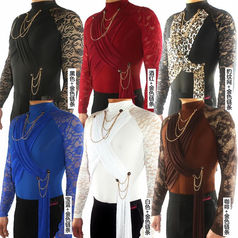 Latin Dance Shirts Männer-Spitze-Druck-lange Hülse der hohen Kragen-Männer Wettbewerb Abschneiden Tanzen Top Cha Cha Rumba Samba DNV11331