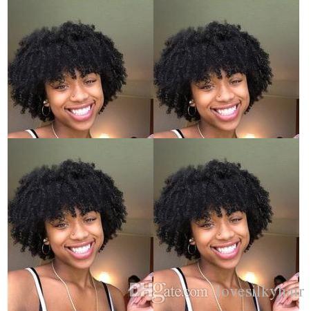 bayan için sıcak satış kadın Brezilya Saç Afrika Americ kısa sapıkça kıvırcık tam peruk simülasyon insan saçı kıvırcık siyah peruk