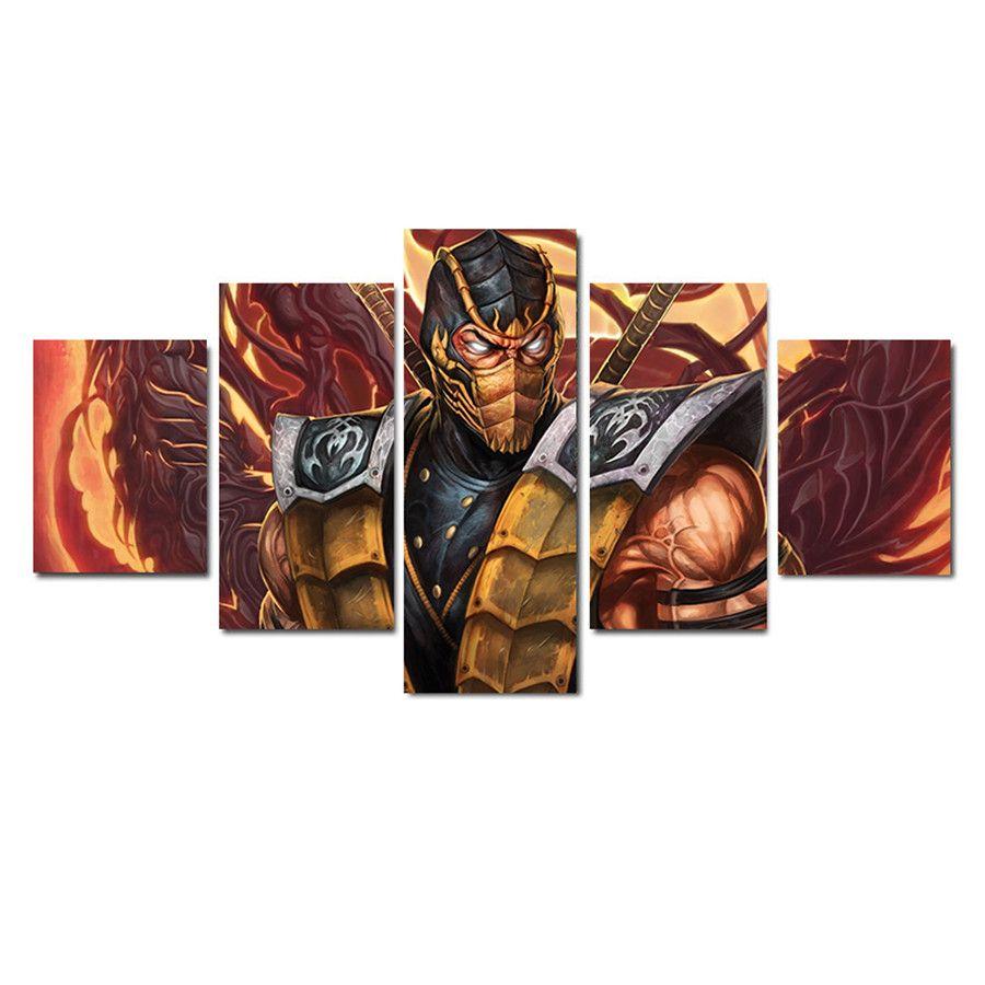 De Mortal Kombat Scorpion MK X,5 Pieces HD Canvas Printing New Home Decoration Art Painting/Unframed/Framed