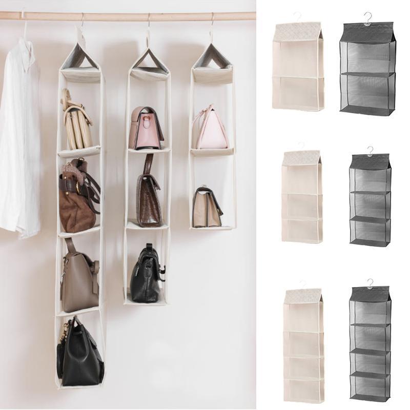 Multicamadas Folding de suspensão bolsa de armazenamento Grande Limpar Titular Anti-Poeira Organizador cremalheira cabide gancho rack saco de alta qualidade