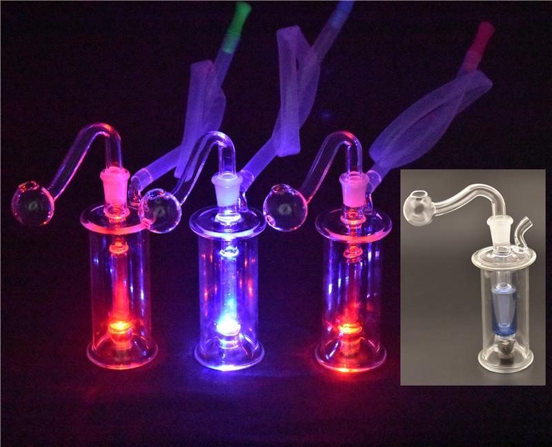atacado queimador de óleo de vidro Bong com LED Mini Dab Rig tubulações de água Multi-cores de reciclagem de vidro Caliane Bong com tubo queimador de óleo de vidro e h