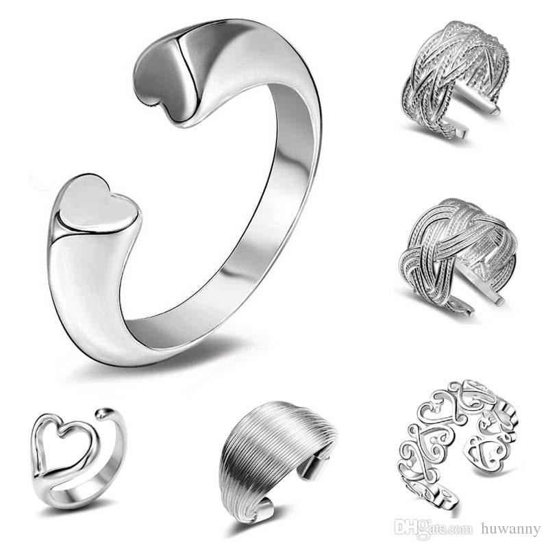 Ring Silver Band Rings Hot Selling Charm Finger Rings For Women Girl Party Gift Open Size Fashion Jewelry Wholesale Free Shipping 0010YDH