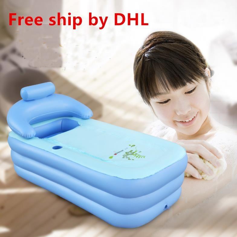 Liberi la nave DHL Adult Spa PVC Pieghevole vasca da bagno portatile per adulti Vasca da bagno gonfiabile dimensioni 160 cm * 84 cm * 64 cm + pompa dell'aria del piede