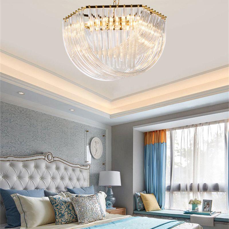 Lujosa Cristal Chandelier Sala de estar Lustre Sala de Cristal Moderna araña Iluminación Dormitorio Cristal Light Chandelier