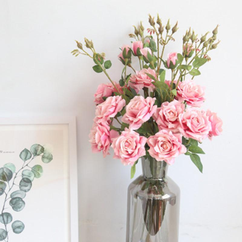 Künstliche rose hochzeit gefälschte display blume real touch blume für hausgarten dekorationen 3 köpfe / bouquet