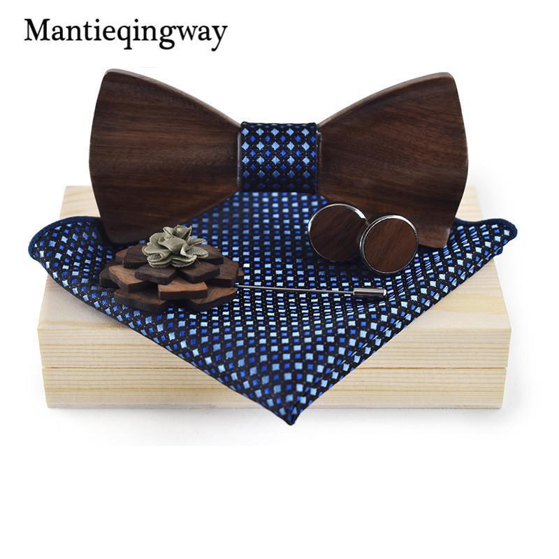 Mantieqingway Wood Bowtie + منديل + بروش + أزرار أكمام مجموعات للرجال البدلة الخشبية ربطة الأزهار المطبوعة القوس التعادل حر bowknots ربطة D19011003