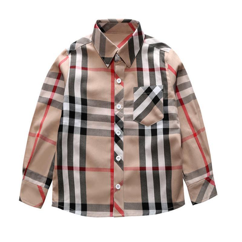 2020 fashion plaid shirt kids long Sleeve Lapel shirt girl high quality Casual pure cotton boys small plaid shirt A104