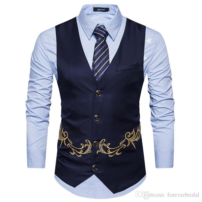 2019 Mens Designer Groom Vests Slim Fit Floral Pattern Formal Groomsmen Wear Men Waistcoat Suits In Stock
