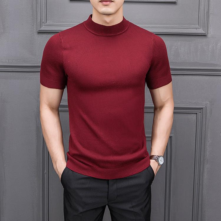 Mrmt gerebloggt 2019 Brand New Herbst Herren Pullover Pure Color Halb hohe Kragen Stricken für männliche Hälfte Ärmeln Pullover Tops T200101