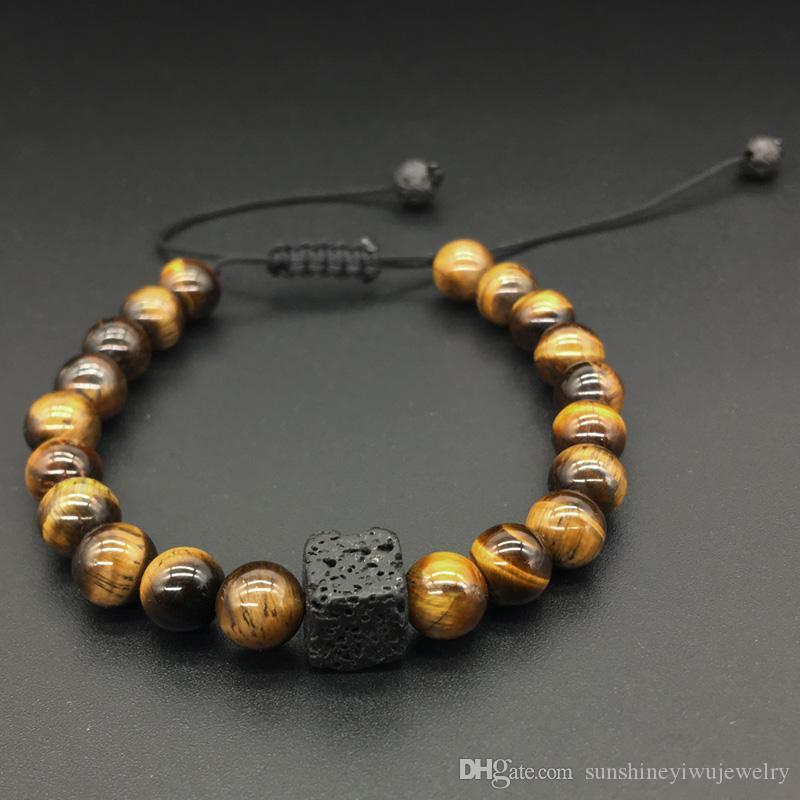 Para Hombre Mujer 8 mm Piedras preciosas Naturales Cuentas Macramé Shamballa Pulsera De Curación Yoga