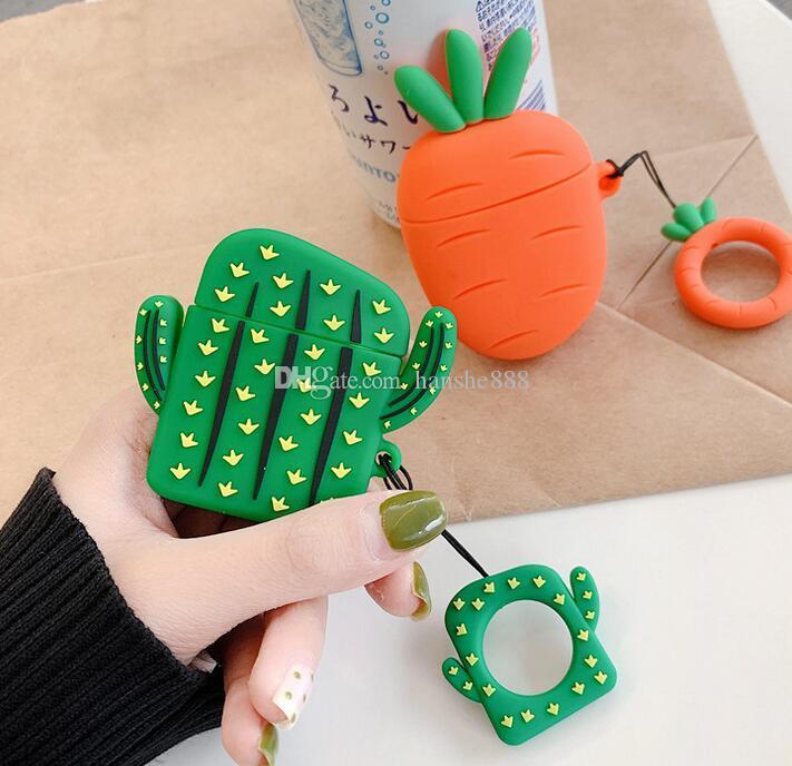 13 DHL nuovo Cactus Carot Cuffie Cover Custodia protettiva in silicone per cuffie Protezione cuffie AirPods