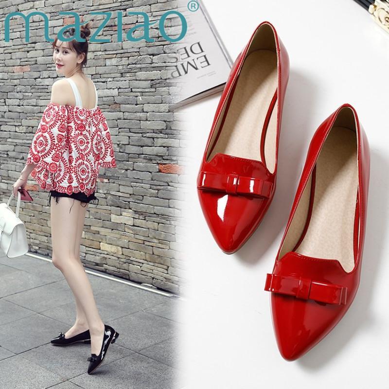 MAZIAO Frauen Wohnungen Schuhe Spitzschuh aus Lackleder Bogen Schuhe Frühling Gelb Ballerinas Damen Schwarz Rot Weiß Größe 33-43