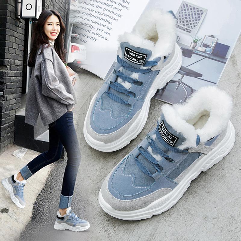 2020 zapatos calientes de invierno Plataforma Mujer de la nieve botas de felpa diario de mujer zapatillas de gamuza sintética de cuero mujer snowboots calientes Zapatos de piel