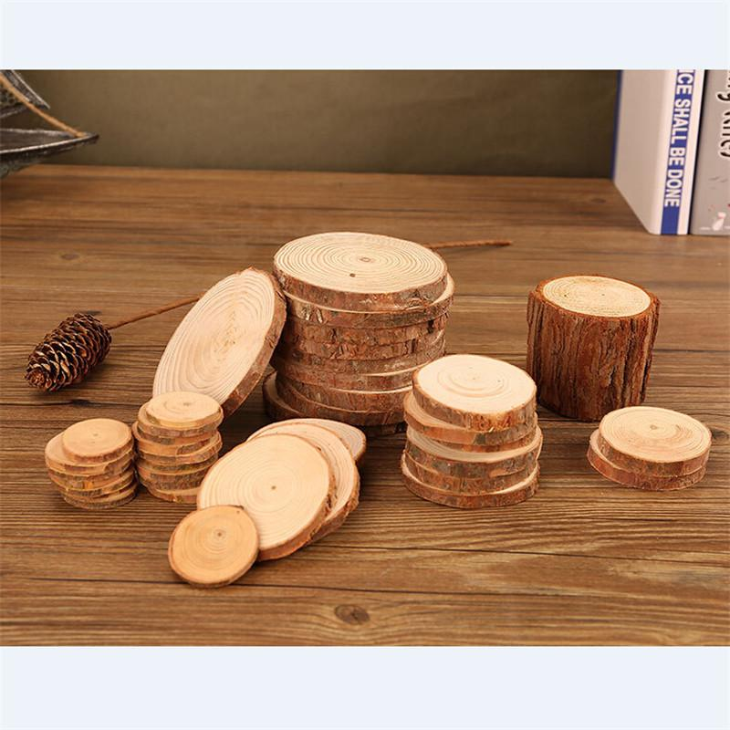 5Pcs Wooden Slice Cup Mat Natural Round Coaster Tea Coffee Mug Drinks Holder For DIY Crafts Wedding Party Decoration