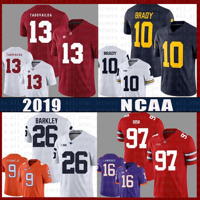 Tua Tagovailoa Wolverines Tom Brady football américain Jersey Lion Saquon Barkley Nick Bosa Dwayne Haskins Jr Trevor Lawrence Jr. Etienne