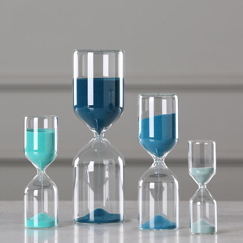 Al por mayor Reloj de arena de cristal de reloj de arena Adornos azul contador de tiempo Count regalos abajo del temporizador de reloj de arena Crafts Figurines Office Decor