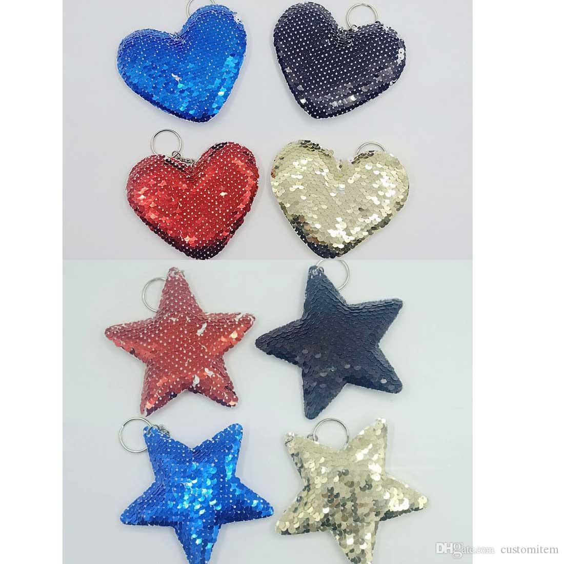 sublimazione paillettes cuore vuoto cinque stelle forma bag Decorazione decorazione di trasferimento a caldo stampa consumabili nuovo arrivo