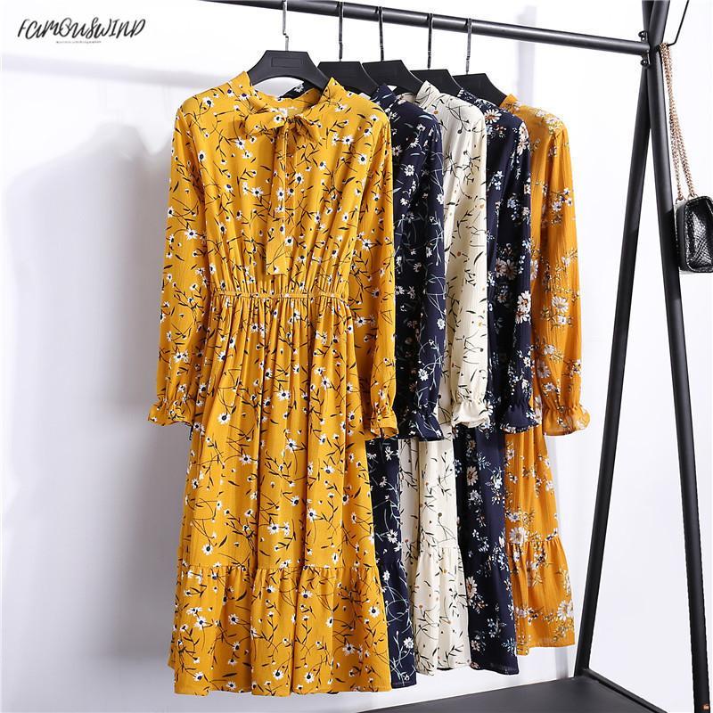 Autunno Estate in chiffon stampa casuale cute donne progettista lunghi bowknot Abiti a maniche lunghe Vestido S-XL formato dei vestiti floreali