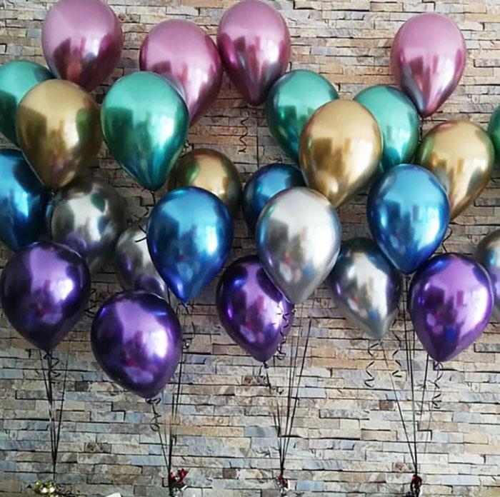 2019 새로운 광택 금속 진주 라텍스 풍선 두꺼운 크롬 금속 색상 풍선 공기 공 Globos 생일 / 파티 장식 12 인치 50PCS / 설정