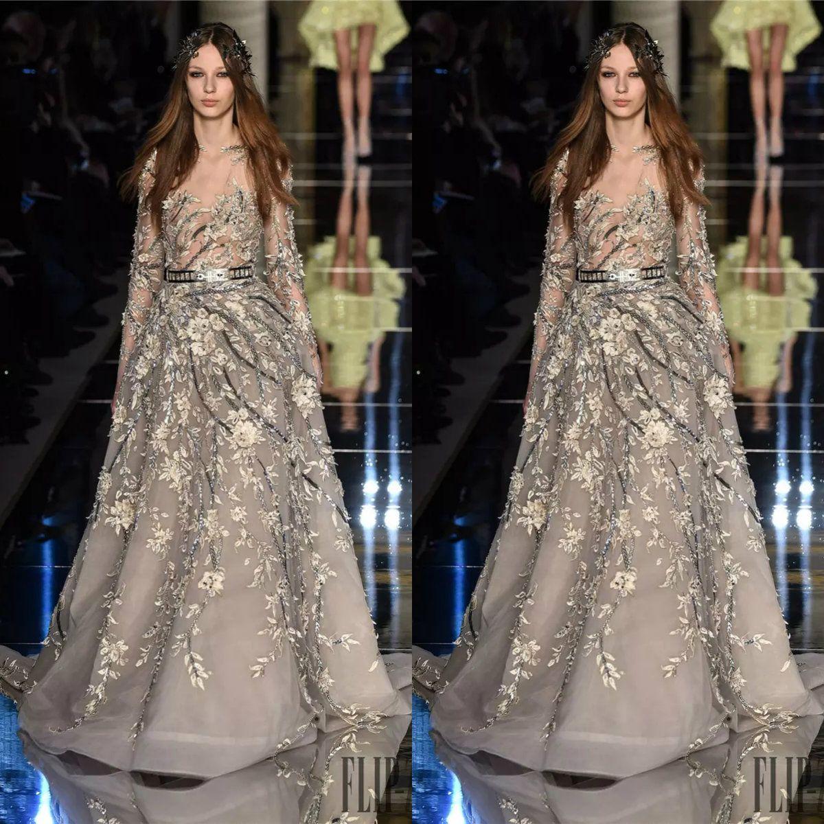 Sexy Zuhair Murad Sheer Abendkleider Mit Langen Ärmeln Applizierte Illusion Mieder Abendkleider Perlen Tüll Kleid Für Besondere Anlässe