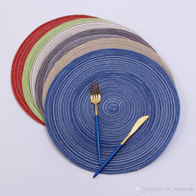 35cm Round Woven Placemats for Dining Table Heat Resistant Wipeable Placemat non-slip Washable Kitchen Place Mats Holiday Party table pad