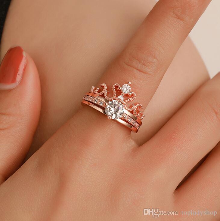 2 unids / set corona anillo ajustable de la mujer exquisita circona diosa anillo de apertura anillos de novia joyería de la boda chapado en oro rosa