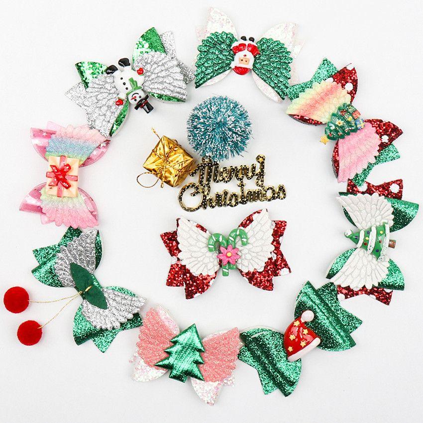 3 بوصة الفتيات الشعر القوس مقاطع شجرة عيد الميلاد ثلج الترتر سانتا كلوز هدية مربع قبعة المشمعات Hairbow Hairbin Hair Hair Accessories