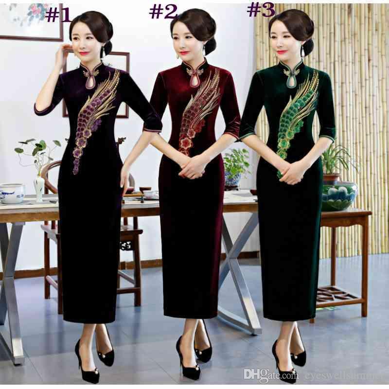 32 estilos china bordado cheongsam qipao longo chinês dress for ladies estilo chinês dress oriental dress mulheres chinesas clothing cheongsam