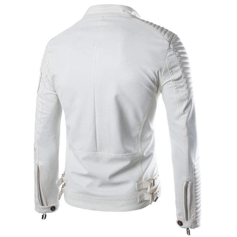 Erkekler Uzun Kollu Motosiklet Ceket Erkek Şık Slim Fit Ceket Siyah Beyaz Veste Cuir Homme M-2XL için FashionWinter Lüks Pu Deri Ceket