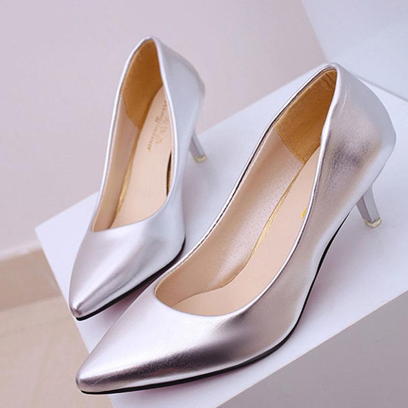 Four Seasons Patent Peather Düşük Topuklar Kadınlar Profesyonel Bayanlar Sığ Ağız Çalışma Siyah Beyaz Ofis Ayakkabı T200525