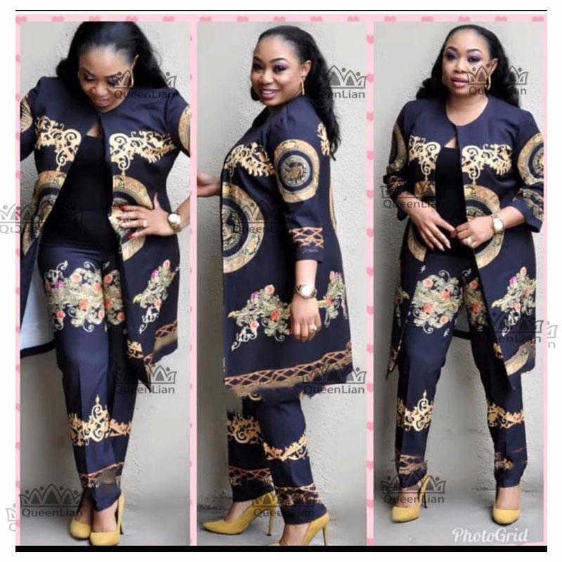 3 ألوان الأفريقية الجديدة طباعة مطاطا سروال فضفاض بازين صخرة نمط Dashiki كم الشهيرة دعوى للحصول على سيدة