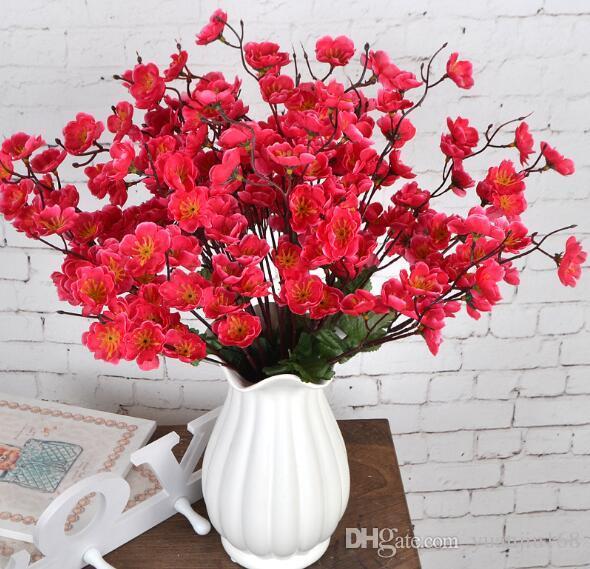 Имитация маленького цветка сливы с несколькими головами Имитация цветка сливы, шелкового цветка и украшения персикового цвета в гостиной WL393