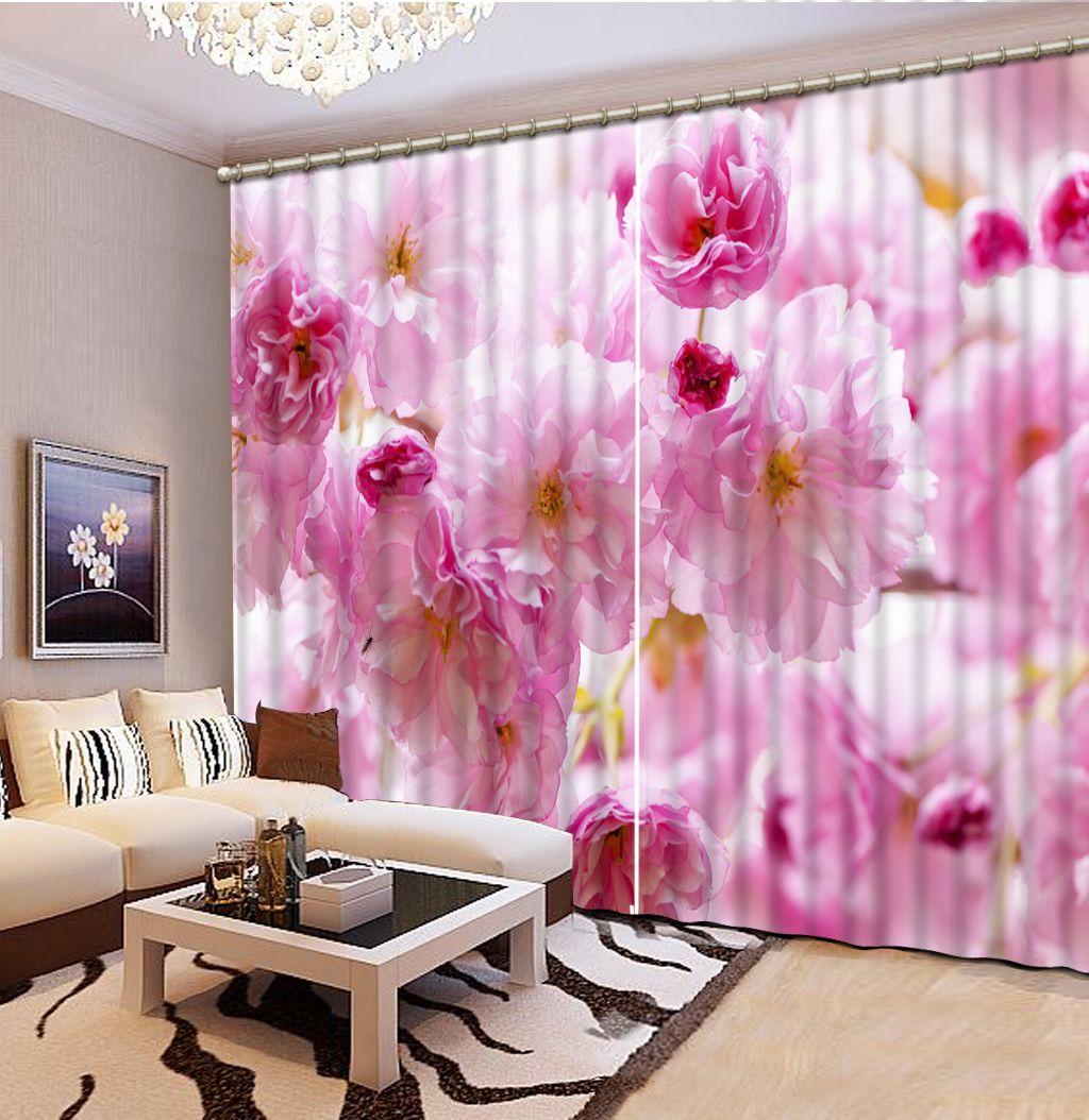 3D Digital Print flores hermosas ventana del dormitorio sala de estar de imitación moderna gruesa cortina del apagón hizo Decoración Draps