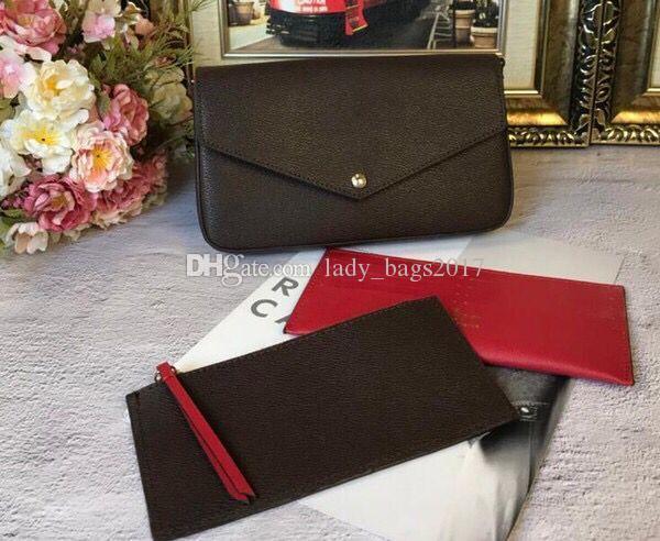 La impresión de lujo Flores bolsas de diseñador cuero de la tarjeta monedero bolso crossbody de tres piezas 3 en 1 cadena de bandolera bolsa de mensajero desmontable