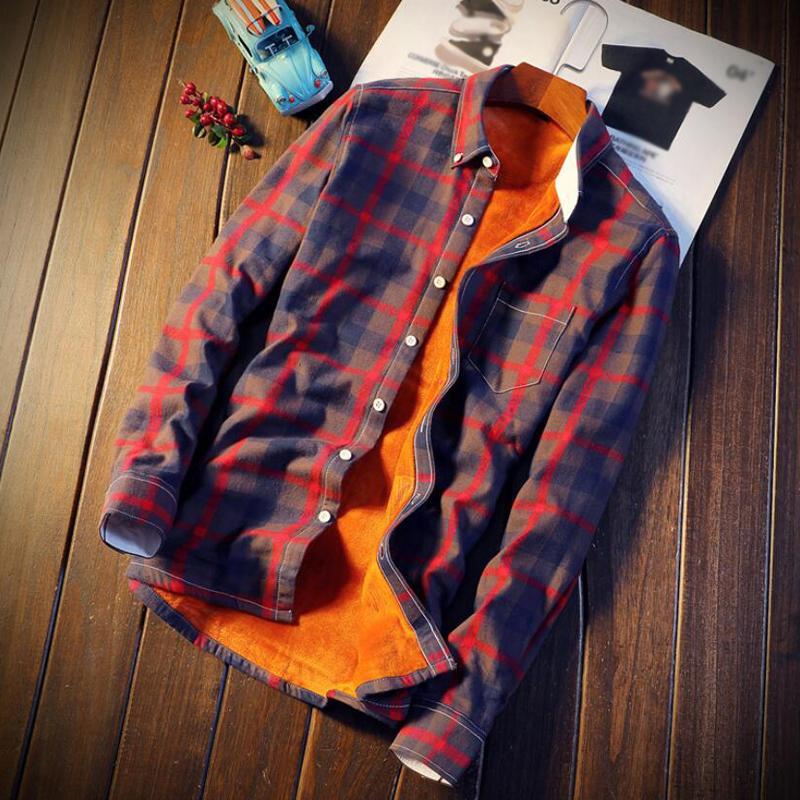 Mens Casual Quente Outono Inverno Primavera de lã grossa de algodão camisa de manga longa 5XL Camisa Masculina shirt Men Plaid camisas de flanela CJ200410