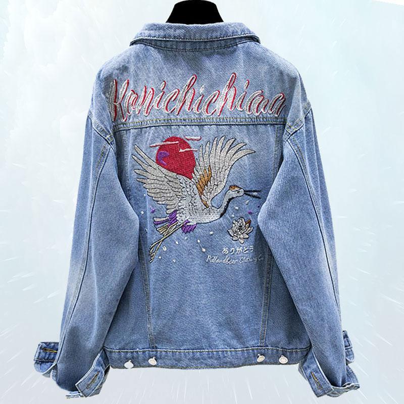Allentato Harajuku Rose ricamo denim cappotto 2019 Nuova Primavera Autunno Giacca foro delle donne Jeans Outwear femminile Jaqueta SL177