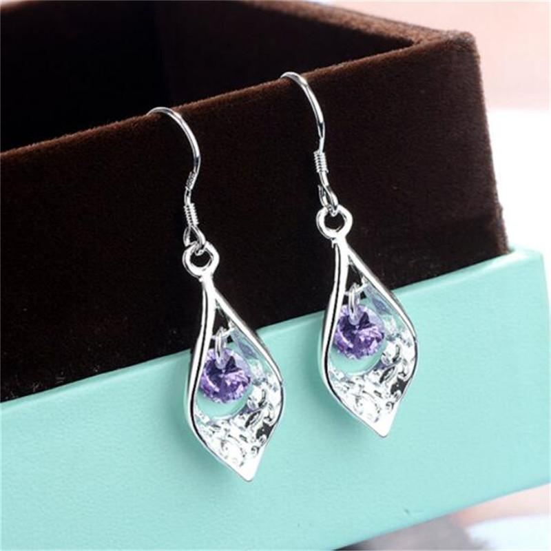 Pendientes de piedra púrpura Europa y América gota en forma de joyería y accesorios de lujo de plata pendientes de las mujeres