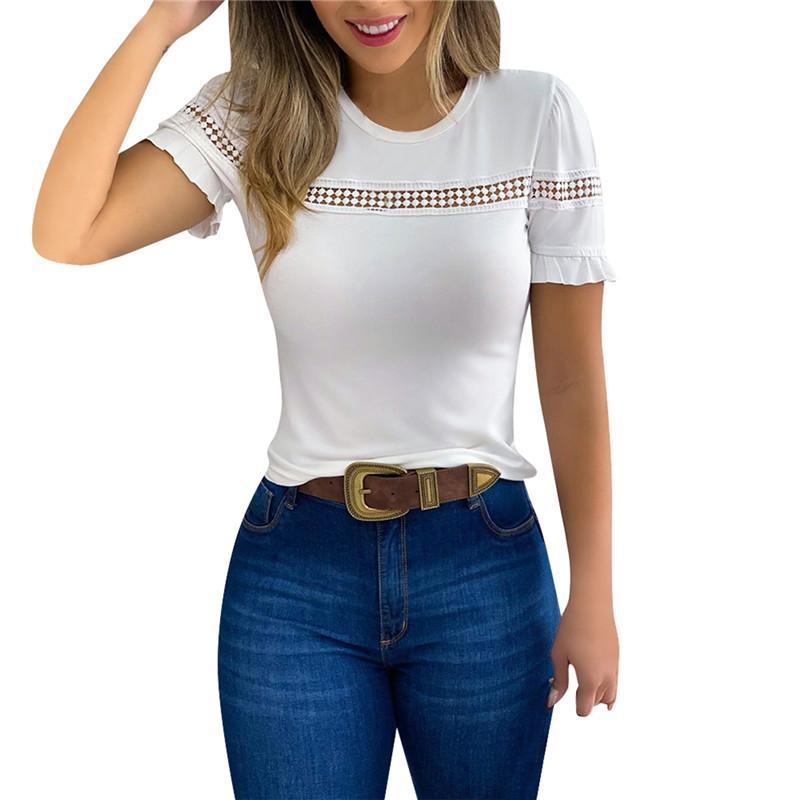 2020 señoras de las mujeres del verano suéter liso manga corta del cuello de O ahueca hacia fuera las camisetas Moda Vestimenta Delgado tee top blanco Negro