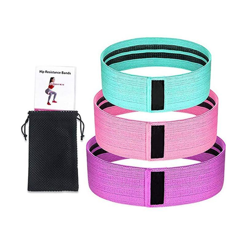 Fitness Yoga Belt Resistance Bands Set Fabric Workout Bands Non-Slip Exercise Elastic Resistance Loops