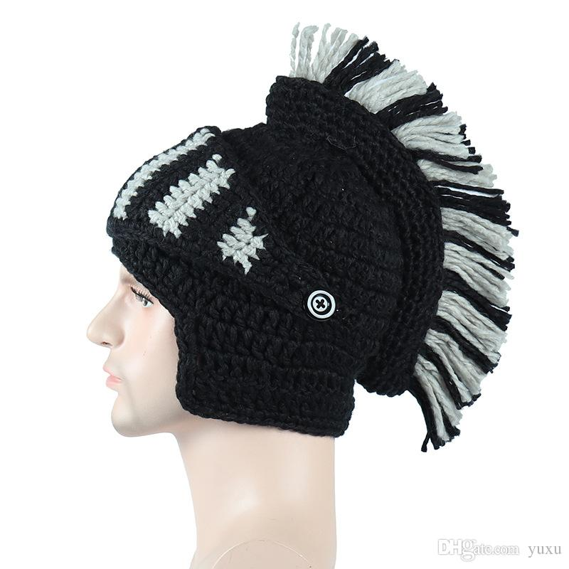 Cappelli invernali per le donne Cappello per gli uomini della novità Maschera Perdita Stretch Hat romana cavaliere protezione del Knit dei capelli capo dell'involucro della sciarpa CapT04
