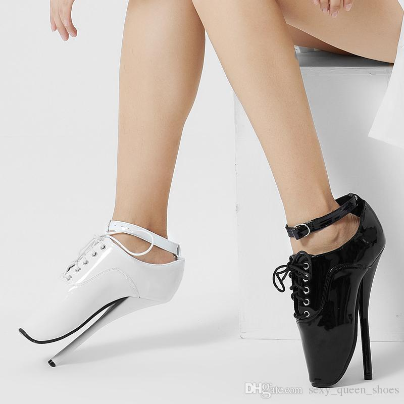 Kadın Fetiş Bale Topuklar Çıplak Boots Kadın Ultra Yüksek Spike Topuk Kadınlar Dantel-up Sivri Burun Seksi Ayak bileği Toka Man Cosplay Ayakkabı