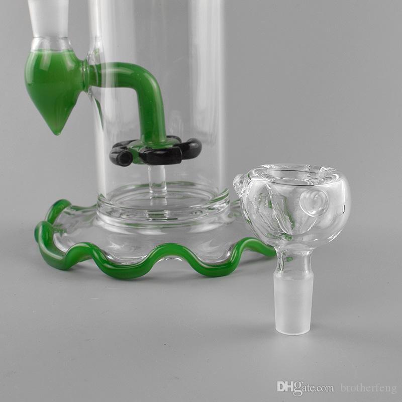 """Новые стекла воды Бонг курительная трубка с цветастыми Lips Стеклянные трубы для курительных Oil Rig 8"""" Белый и зеленый цвет"""